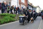 HASTINGS, ENGLAND - MAY 7: Morris dancers parade through the Old Town during the annual Jack In The