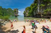 JAMES BOND ISLAND, THAILAND - NOV 8, 2012: Unidentified tourists visiting biggest tourist attraction