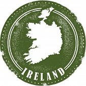 Vintage Style Ireland Country Stamp