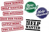 Now Hiring and Help Wanted Job Stamps