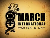 Happy International Women's Day flyer, banner or poster with text 8 March.