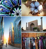 Collage with Uzbekistan theme. Shah i Zinda complex, blue cup pattern, cotton flower, mosque in Samarkand, scarfs.