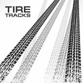 Tire Tracks On White & Text
