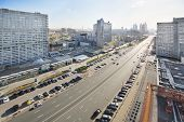 MOSCOW - MAY 10: New Arbat Street at spring day, on May 10, 2013 in Moscow, Russia. Length of street