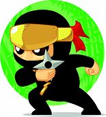 stock photo of ninja  - A vector image of a ninja holding his secret weapon - JPG