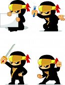 foto of ninja  - A vector set of ninja in several poses - JPG