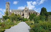 LIMOGES, FRANCE - SEPTEMBER 10: Botanical garden against St. Etienne's Cathedral in Limoges, France
