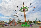Rides On The Midway At The Indiana State Fair