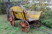 stock photo of four-wheeler  - old shabby wooden yellow cart in the garden - JPG
