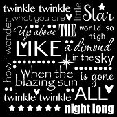 image of nursery rhyme  - Twinkle Twinkle Little Star Word Art Text Design Black and White - JPG