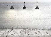 stock photo of concrete  - poster in room with ceiling lamp - JPG