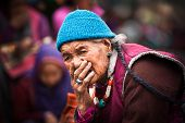 Tibetan Woman At Folk Festival. India, Ladakh