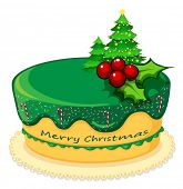 Illustration of a cake for christmas on a white background