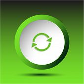 Recycle symbol. Plastic button. Vector illustration.