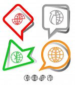 Business icon set. Globe, globe and array up, shift globe, globe and clock. Paper stickers. Vector i