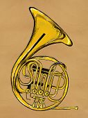 French horn Painting Image - music background