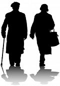 Vector drawing of two elderly people with cane