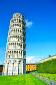 stock photo of piazza  - Leaning Tower of Pisa or Torre pendente di Pisa Miracle Square or Piazza dei Miracoli - JPG