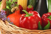 Colourful Vegetables In The Basket