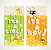 Yellow  nd green vertical banners it`s a baby