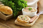 homemade meat snack ?hicken liver pate with parsley