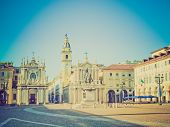 stock photo of torino  - Vintage looking Piazza San Carlo in Turin  - JPG