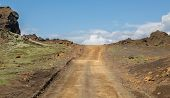 Straight track through Iceland