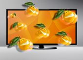 stock photo of dimentional  - Black LCD tv screen with three dimentional view  - JPG