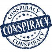 Conspiracy Grunge Blue Round Stamp