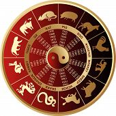 image of chinese zodiac animals  - Vector illustration of gold Chinese horoscope szmbols - JPG