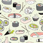 Seamless powder pastel japanese cuisine sushi illustration background pattern in vector