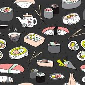 Seamless japanese cuisine sushi illustration background pattern in vector