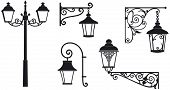 Iron wrought lanterns with decorative ornaments. Vector illustration