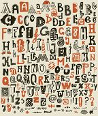 Whimsical Hand Drawn Alphabet Letters and Keystrokes - Doodle alphabet sets with most common keystrokes: question marks, exclamation points, stars,