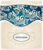 Invitation or Frame in  dark blue and beige colors