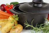 Pot with vegetables