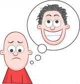 image of pelade  - Cartoon bald man sad and dreaming of growing hair - JPG