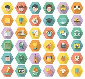 Modern Flat Education and Leisure Icons in Hexagons