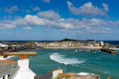 image of st ives  - View of St Ives Cornwall England with harbour - JPG