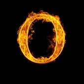 Fire alphabet letter O isolated on black background.