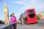 picture of westminster bridge  - London lifestyle woman running near Big Ben - JPG