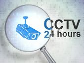Privacy concept: Cctv Camera and CCTV 24 hours with optical glass