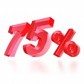 Sales concept: 75% off sign on white