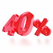 Sales concept: 40% off sign on white