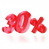 Sales concept: 30% off sign on white
