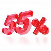 Sales concept: 55% off sign on white