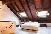 Interior, beautiful loft, luxurious bedroom