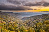Autumn sunset in the Smoky Mountains National Park.