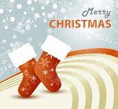 Christmas socks - cute retro xmas background with santa stocking
