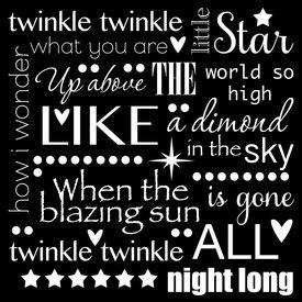 image of nursery rhyme  - Twinkle Twinkle Little Star Word Art Text Design Black and White - JPG